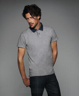 Denim Collar Piqué Polo